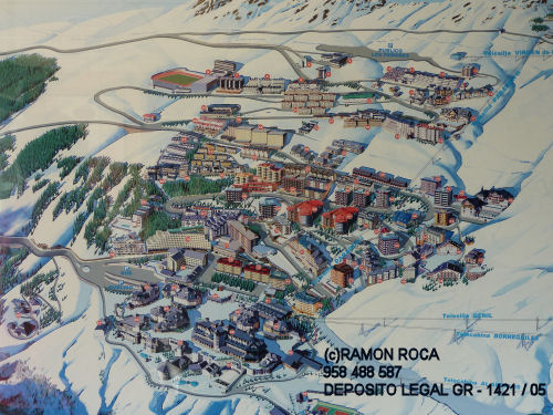 Map of the ski station in  Sierra Nevada